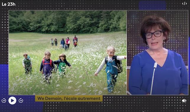 Armelle Oger présente un article de WE DEMAIN sur l'école en forêt.