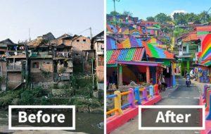 Pour seulement 20 000 euros de peinture, ce bidonville indonésien est devenu un véritable arc-en-ciel
