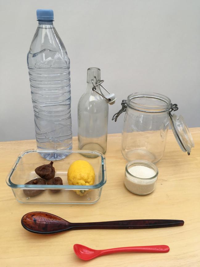 Eau, sucre, citron, figues... les éléments nécessaires pour créer sa boisson au kéfir.