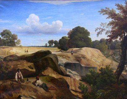 Carrières dans la forêt de Fontainebleau (1833) par Caruelle d'Aligny. (Crédit Wikimedia)