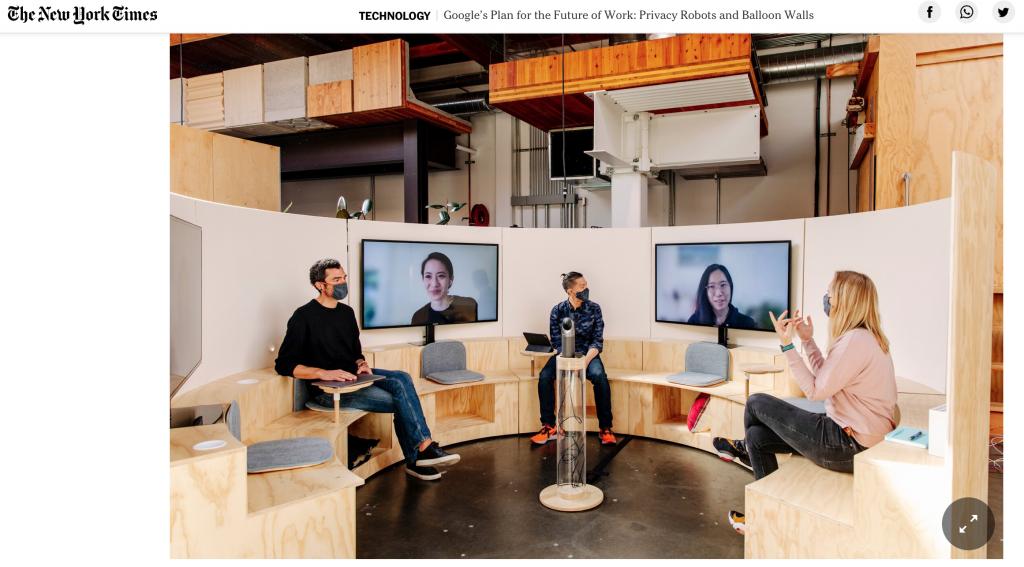 Les salles de réunion en cercle des nouveaux bureaux de Google donnent une vraie place aux salariés à distance.