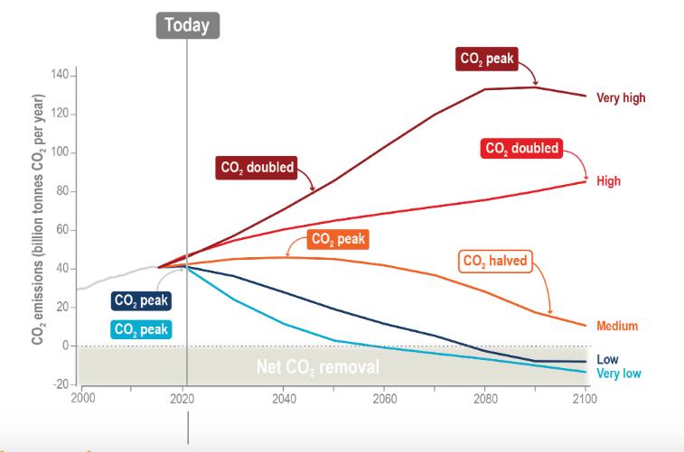 """Evolution des émissions de CO2 pour les différents scénarios du GIEC. Les deux qui parviennent à limiter le réchauffement à moins de 2°C sont en bleu et ils intègrent des techniques de géoingénierie (captations de carbone atmosphérique), d'où des émissions """"négatives"""" en fin de siècle (Net CO2 Removal). @IPCC 2021. Climate Change 2021: The Physical Science Basis"""