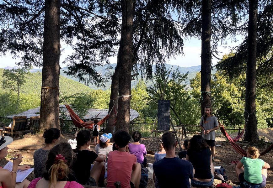 L'écolieu se trouve au milieu de la forêt, dans les Cévennes.